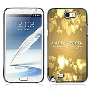 Paccase / Dura PC Caso Funda Carcasa de Protección para - BIBLE Faith Hope Love - Samsung Note 2 N7100