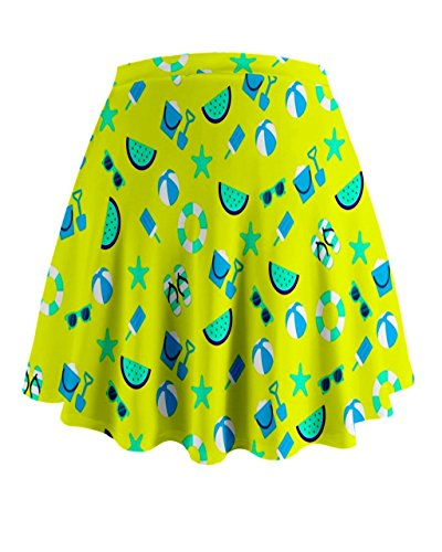 Cowcow Womens verano playa Seaside patrón Mini Flare falda Blue and yellow
