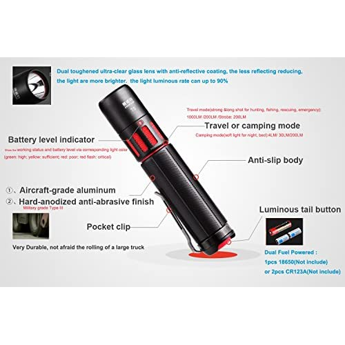 3f685038e6cd9f Mini Lampe Torche Tactique Militaire 1000 Lumens CREE Lampe Torche Led  Ultra Puissante CR123A Batterie 18650 Lampe Torche Rechargeable Exterieur  Etanche ...