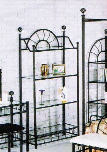 Sunburst Wrought Iron Style Glass Bakers Rack Etagere by Acme Furniture
