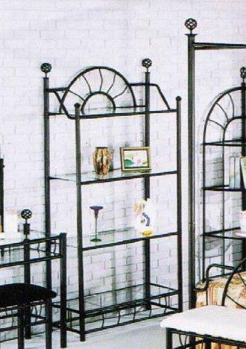 ACME Sunburst Wrought Iron Style Glass Bakers Rack Etagere
