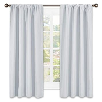 Etonnant NICETOWN White Bedroom Curtain Panels   Window Treatment Thermal Insulated  Rod Pocket Room Darkenining Curtains/