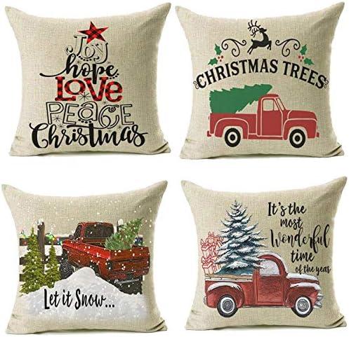 Amazon Com Jomo 16x16 Christmas Throw Pillow Covers Set Of 4 Decorative Farmhouse Outdoor Merry Xmas Cushion Lumbar Pillow Shams Cover Cases For Couch Sofa Home Kitchen