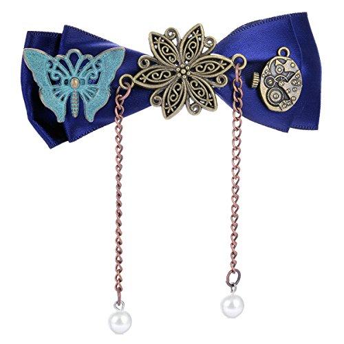 RechicGu Blue Silk Bowknot Goth Clock Gear Lolita Steampunk Butterfly Hair Clip Dress Snap Pin