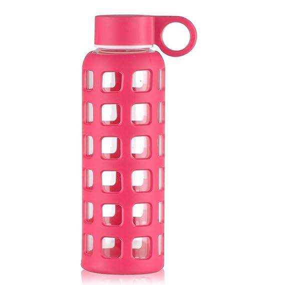Reeho® Sportflasche Trinkflasche aus Glas, BPA-frei Wasserflasche ...