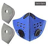 JY 1 Back Half Face Cover with 2 pcs Actived Carbon Filter, Facemask for Outdoor, Sports, Running, Washable face Shield, Unisex Breathable Dustproof, Protect from Dust