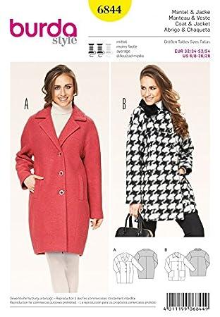 Mesdames 6844 Burda Courroie Couture Manteaux Pour De D Patron Bq4wvtq