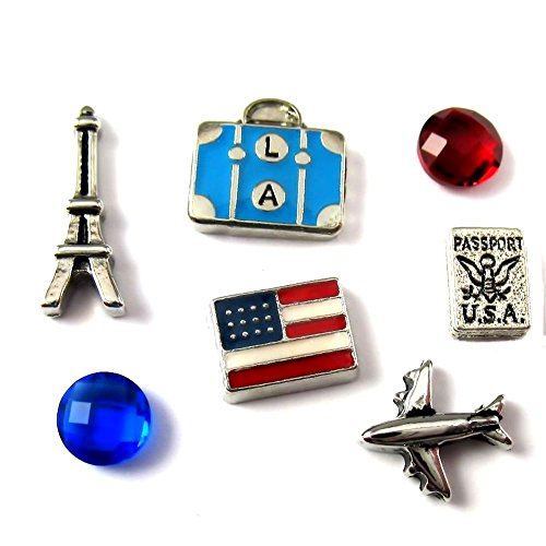 FCL Designs Travel Theme Floating Charms Combination for Lockets (Airplane Floating Locket Charm)