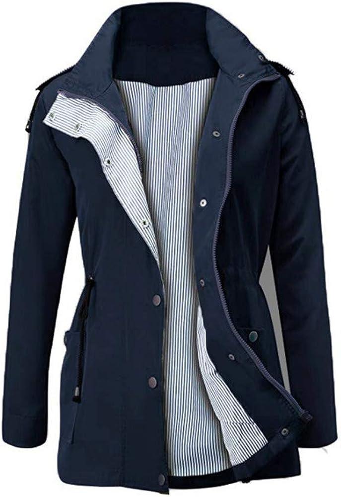TrinhGuo Women Waterproof Outdoor Raincoat Windbreaker Hoodie Rain Jacket