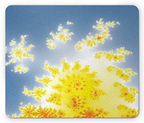 (Lunarable Fractal Mouse Pad, Vibrant Floral Motif with Trippy Shapes Fantastic Artistic Fiction Graphic Print, Standard Size Rectangle Non-Slip Rubber Mousepad, Yellow Blue)