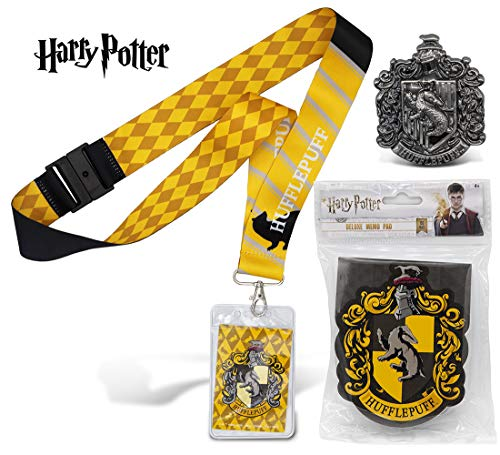 Warp Gadgets Harry Potter Bundle - Hufflepuff Deluxe Lanyard W/ Card Holder, Pewter Lapel Pin and Deluxe Memo Pad (3 ()