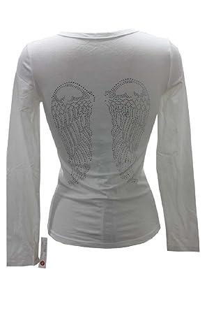 23a0d1ff58fd2 T-Shirt Debardeur Ailes d ange en Strass Slim Coupe ajustée Stretch Noir  Blanc
