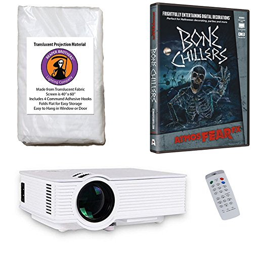 AtmosFearFx Bone Chillers Halloween DVD Projector Kit with 1900 Lumen LED Video Projector, Reaper Brothers High Resolution Window Rear Projection Screen