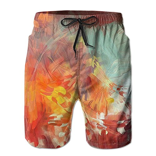 Maple Leaves Men's Beach Shorts Printing Quick Dry Polyester Pants With Tow (Shrub Halloween Costume)