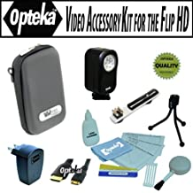 Opteka Professional Video Accessory kit for the Flip Ultra U1120, UltraHD U260, U2120, U32120, MinoHD F460, M2120, M3160, M31120, SlideHD S1240 includes Opteka VL-20 Ultra Bright LED Video light, Flash bracket, Vidpro EVA-20BK hard case, HDMI cable, USB AC Charger and more