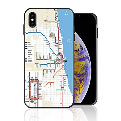 Silicone Case for iPhone Xs Max, Atlanta Subway Map Design Printed Phone Case Full Body Protection Shockproof Anti-Scratch Drop Protection Cover -