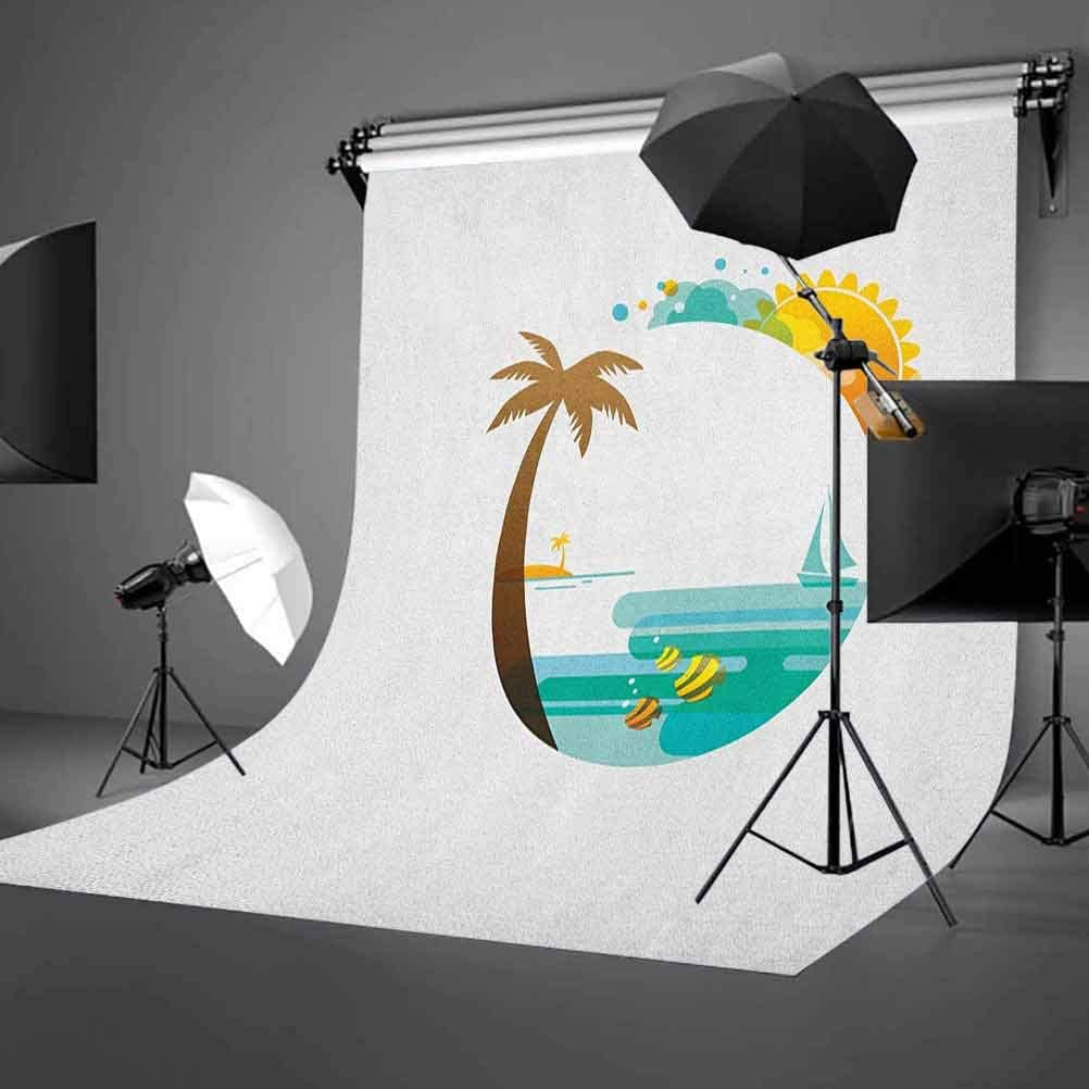 7x10 FT Island Vinyl Photography Backdrop,Pattern with Hand Drawn Cartoon Style Banana Fruits and Green Leaves Tropical Jungle Background for Baby Birthday Party Wedding Studio Props Photography