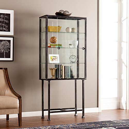 Media Bookshelves/ Display Cabinet Contemporary, Modern Metal Glass Sliding-Door Display Cabinet - Assembly Required OS4688ZH. 68.25 in. H x 30 in. W x 12.5 in. L