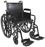 Karman Healthcare T-2017-BK Folding Steel Transport Chair with Removable Footrests, Black, 17 Inches Seat Width
