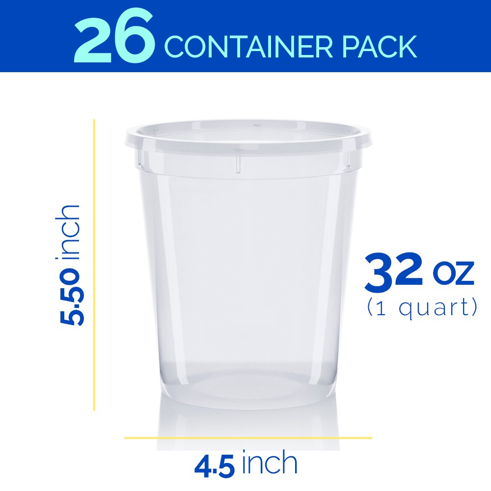 32 oz Plastic Food Storage Containers with Leakproof Lids (26 pack) - Reusable Deli & Restaurant Cups - Freezer, Microwave & Dishwasher Safe - BPA Free - Meal Prep, Soups & Portion Control Container