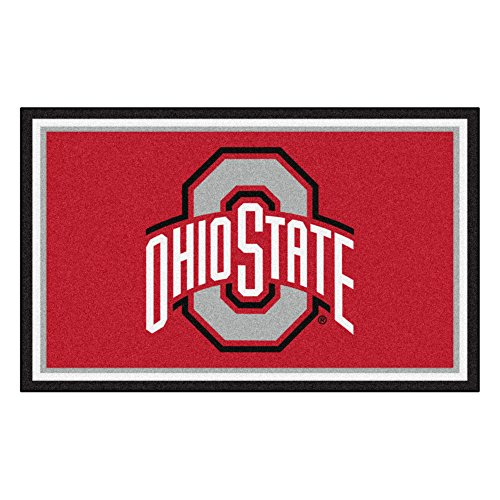 (FANMATS NCAA Ohio State University Buckeyes Nylon Face 4X6 Plush Rug)