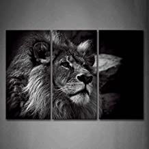First Wall Art - Black And White Gray Lion Head Portrait Wall Art Painting Pictures Print On Canvas Animal The Picture For Home Modern Decoration