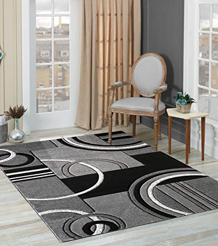 Golden Rugs Platinium Collection 500,000 Thread count Soft Black-Grey Hand Carved - Modern Contemporary (5'2