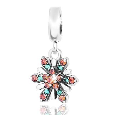 3cc7ec601 Lovans 925 Sterling Silver Swarovski Snowflake Charm Bead Fit Pandora  Bracelets: Amazon.co.uk: Jewellery