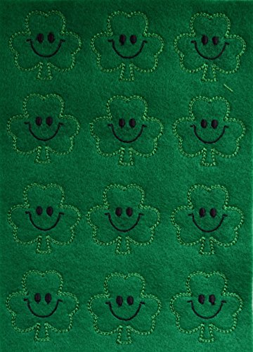 Set of 12 Green Shamrock Embroidered Felt Appliqués for Crafting and DIY Hair Bow Making