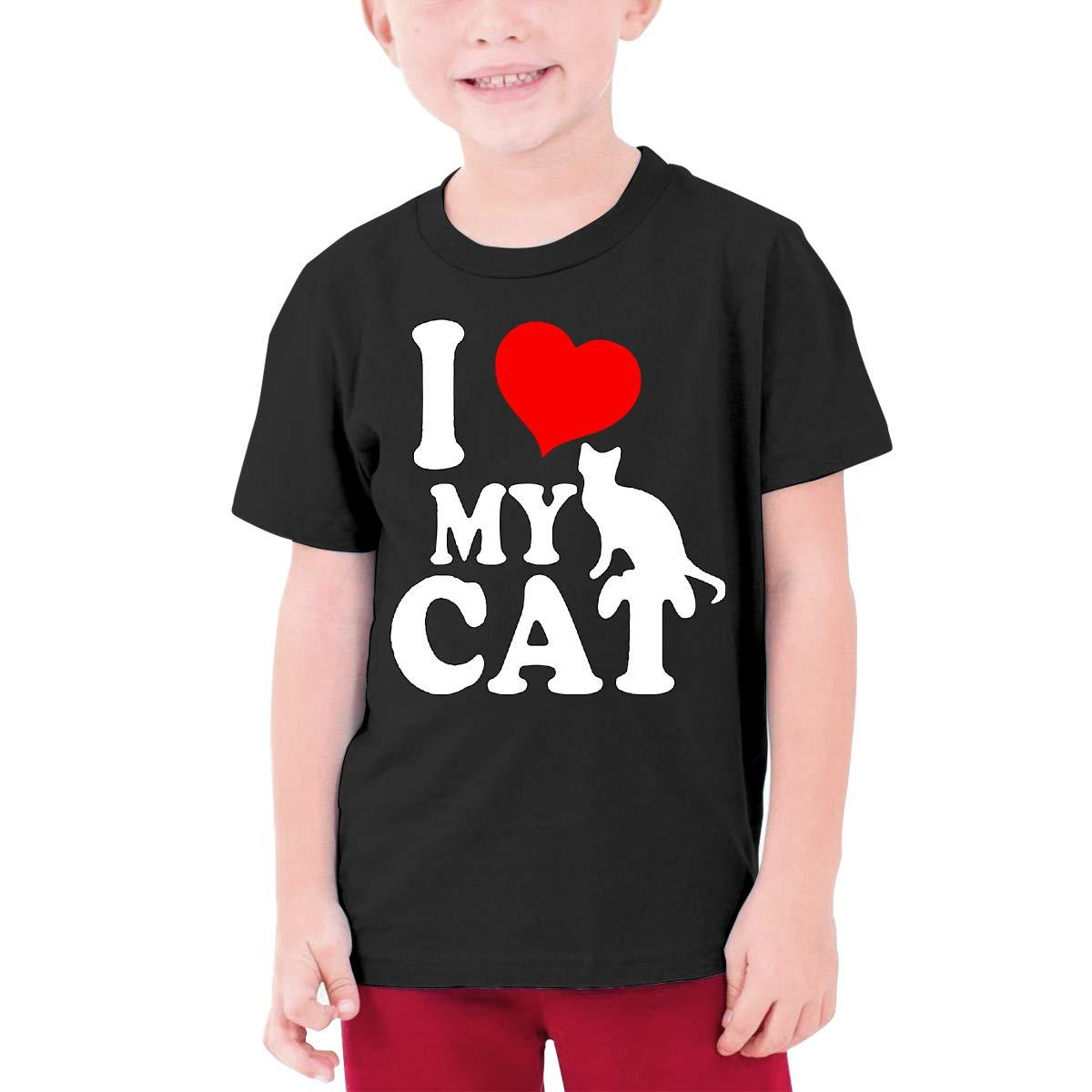 I Love My Cat Junior Boys /& Girls Girls Round Collar Tshirt