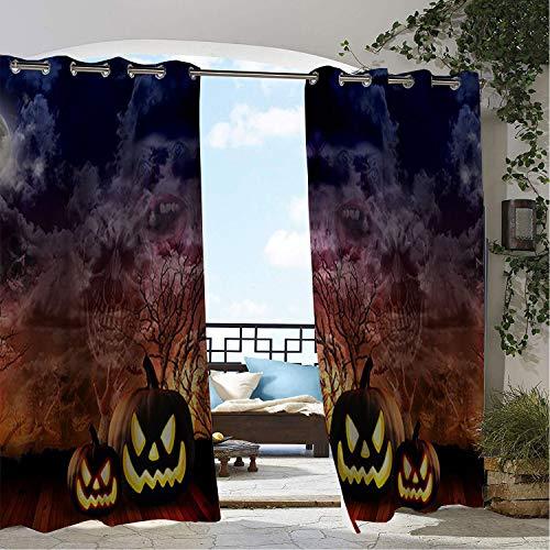 Linhomedecor Outdoor Waterproof Curtain Halloween Scary Pumpk 9
