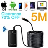 SanSiDo Endoscope Camera Wifi Endoscope Borescope Camera Wifi Box 2.0 Megapixels HD 7mm 6 Leds Waterproof Snake Inspection Camera with Shutter for IOS Android for iPhone,iPad Pro,Samsung(5 M)