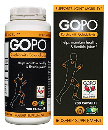 Rosehip Joint Supplement by GOPO (200 Capsules): Rose Hips Joint Support - Patented Formula w/ Vitamin C, Non-GMO, Vegan - Clinically Proven for Natural Joint Health & Joint Care (Rose Health Hips)