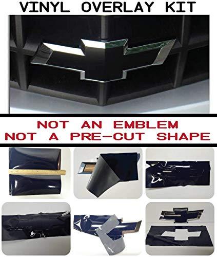 Compatible with Chevy Bowtie Emblem Overlay Kit - DIY, Silverado, Colorado, Suburban, 1500, S10, Tahoe, Camero BLACK MATTE, 651 ORACAL w/Extra Sheet || C-6-BM
