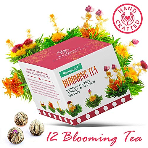 Blooming Green Tea Set of 12 Balls - 6 Naturally Flavored Flower Teas Total 36 Steeps & 250 Cups - Artisan Hand-Tied Florals scented with Jasmine, Vanilla, Peach, Mango & Rose Scents on Edible Flowers