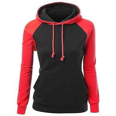 Mujer Sudadera, Fondo de Color a Juego Sudaderas con Capucha Cortas para Mujer Camisetas Mujer Blusa Tops Sudadera Mujer: Amazon.es: Ropa y accesorios