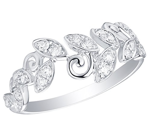 Jewel Olive - Prism Jewel 0.30Ct G-H/I1 Natural Round Diamond Olive Leaf Vine Ring, 10k White Gold, Size 6.5