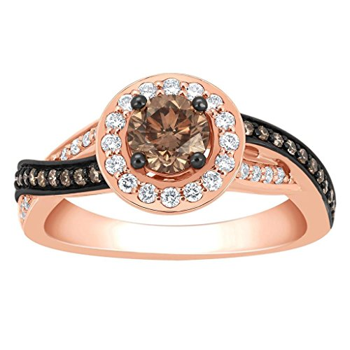 Midwest Jewellery Wedding Ring Brown Solitaire Center Cognac and White 14K Rose Gold Halo Style (0.9 cttw)