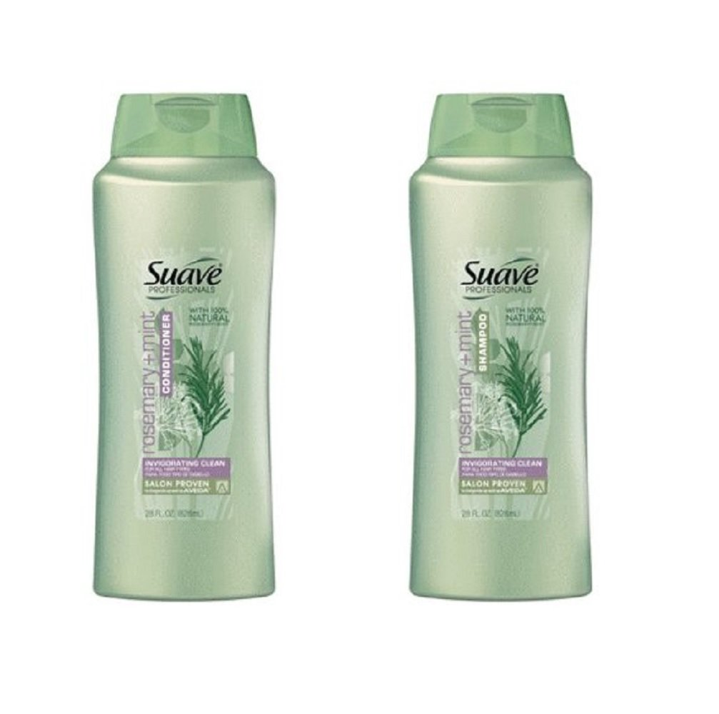 Suave Professionals Rosemary + Mint Shampoo and Conditioner Bundle, 28 Oz Each Bottle