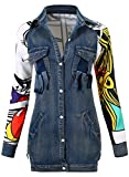 JOKHOO Women's Fashion Patchwork Printed Back Denim Long Jacket Top (Blue,XL)