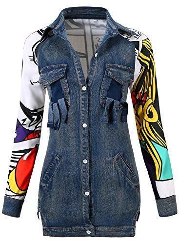 JOKHOO Women's Fashion Patchwork Printed Back Denim Long Jacket Top (Blue,S) ()