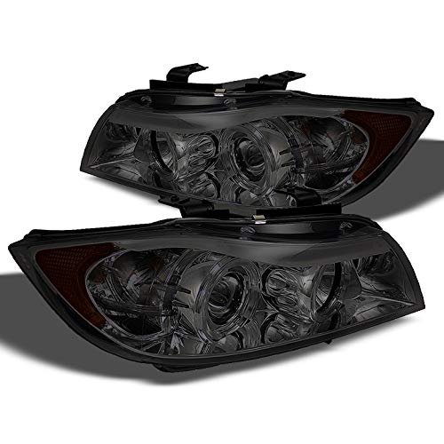 E90 3 Series - Xtune Smoked 2006-2008 BMW E90 3-Series 4 Door Twin Halo Projector Headlights Smoke Pair Left+Right 2007