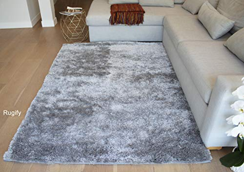 - LA Rectangular Deep Pile Fluffy Modern Silky Canvas Backing Shag Shaggy Floor Fluffy Fuzzy Medium Pile 5-Feet-by-7-Feet Polyester Made Area Rug Carpet Rug Silver Color