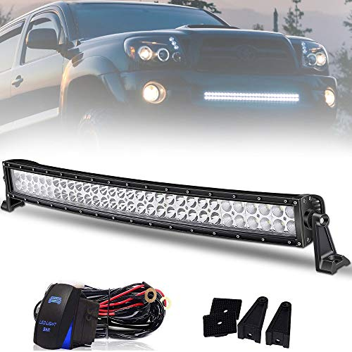 W Curved LED Light Bar with Rocker Switch Wiring Harness IP67 WATERPROOF Spot & Flood Combo Beam Led Bar 18000LM Offroad Lights for Truck Jeep SUV UTV Boat,2 Years Warranty ()