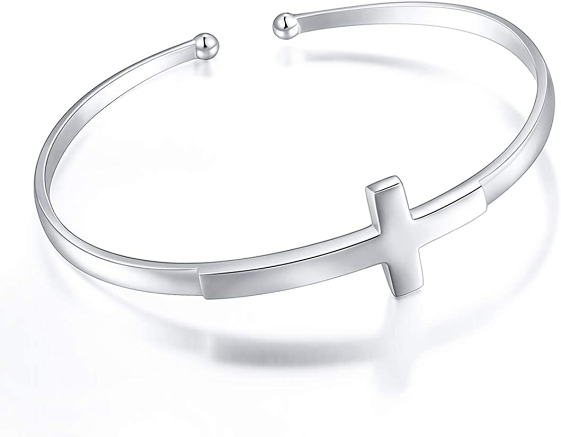 Sterling Silver Faith Hope Love Cross Bangle Bracelet for Women Sister Girlfriend Gift