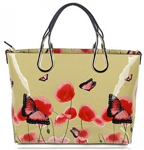 LeahWard® Femme Mode Brevet Papillon Impression Styliste Célébrité Shinny Tote Sac À Main Sac À Betoulière CWRJ141202 (Beige)