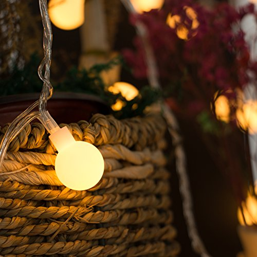 [Remote & Timer] 33Ft Globe String Lights 100LED Fairy Twinkle Lights with Remote 8 Modes Controller & UL Listed Adaptor Plug-for Patio/Party/Garden/Wedding Decor, Warm White by Brightown (Image #3)