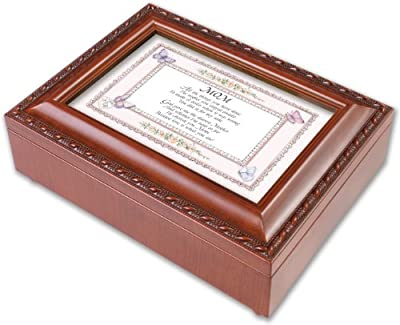 Mom Mother Love Woodgrain Music Jewelry Box Plays Wind Beneath My Wings