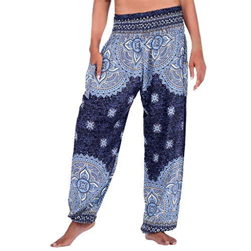 (Women Long Pants Casual Hippie Boho High Waist Sport Yoga Pants Plus Size Harem Pants Baggy Jogger Jumpsuit Flare Pants)