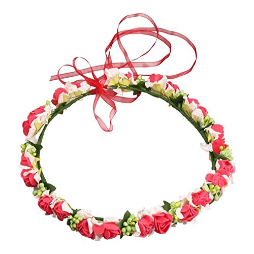 JustVH Exquisite Flower Crown Flower Headband Bridal Wreath with Adjustable Ribbon ()